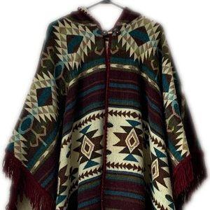 Sweaters - 100% alpaca wool poncho with hood